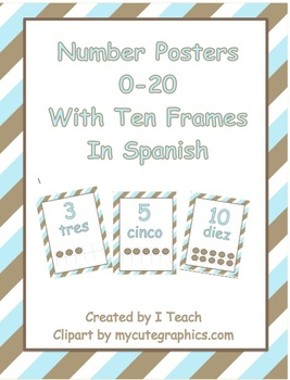 Number Posters 0-20 with Ten Frames in Stripes in English & Spanish- Bundle