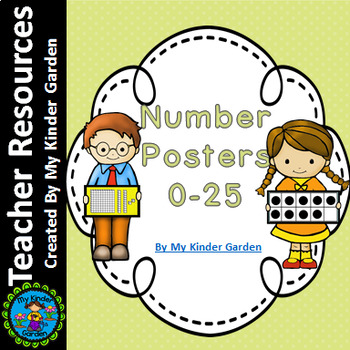 Number Posters 0-25 (name, base ten, ten frames, and tally marks)