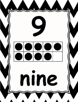 Number Posters 0-30 Chevron black & white with numeral, ten frame,& word