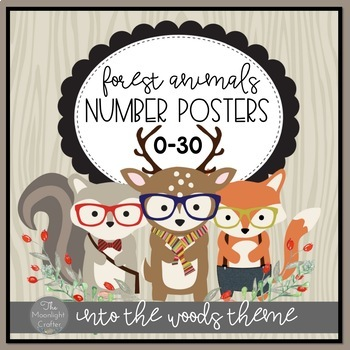 Number Posters 0-30 Into the Woods Hipster Theme
