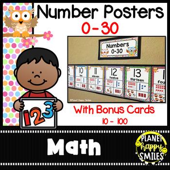 Number Posters 0-30 Plus Bonus Cards ~ Owl Theme