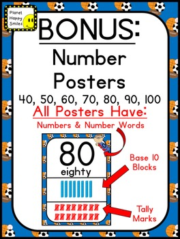 Number Posters 0-30 Plus Bonus Cards ~ Sport Theme with Zero the Hero