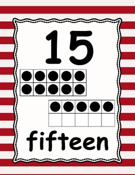 Number Posters 0-30 red & white stripes with numeral, ten frame, & word