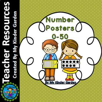 Number Math Posters 0-50 (name, base ten, ten frames, and