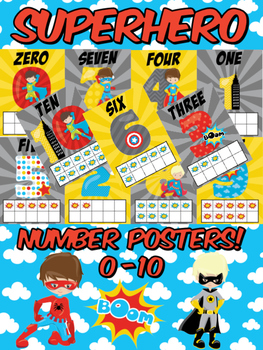 Superhero Number Posters 0 to 10 Classroom Decor for Pre-K & K