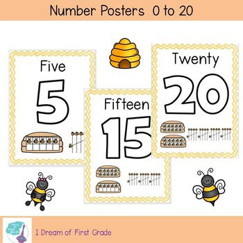Number Posters  0 to 20 - Bee Theme