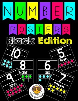 Number Posters 0 to 20 - Black Edition