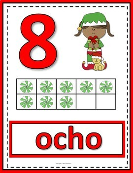 Number Posters 0 to 20 with Ten Frames - Christmas Elves - Spanish
