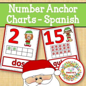 Number Anchor Charts 0 to 20 with Ten Frames - Christmas - Spanish-Los Números
