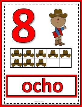 Number Posters 0 to 20 with Ten Frames - Cowboys - Spanish