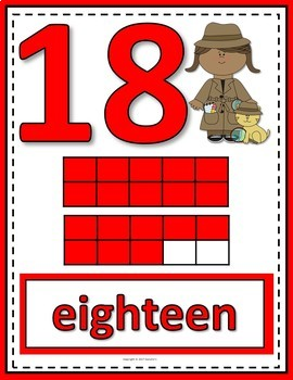 Number Posters 0 to 20 with Ten Frames - Detectives