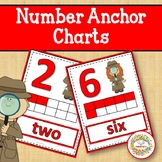 Number Anchor Charts 0 to 20 with Ten Frames - Detectives
