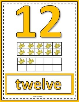 Number Anchor Charts 0 to 20 with Ten Frames - Fall or Autumn Theme