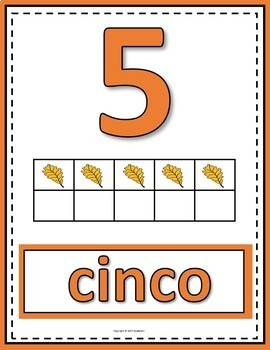 Number Anchor Charts 0 to 20 with Ten Frames - Fall Autumn-Spanish-Los Números