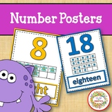 Number Anchor Charts 0 to 20 with Ten Frames - Monsters