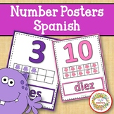 Number Anchor Charts 0 to 20 with Ten Frames Monster Theme - Spanish-Los Números