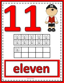 Number Anchor Charts 0 to 20 with Ten Frames - Pirate Theme