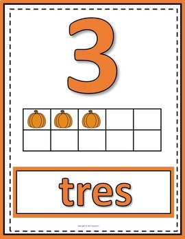 Number Posters 0 to 20 with Ten Frames - Pumpkins - Spanish