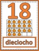 Number Anchor Charts 0 to 20 with Ten Frames - Pumpkins - Spanish - Los Números