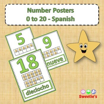 Number Anchor Charts 0 to 20 with Ten Frames - Spanish-Los Números
