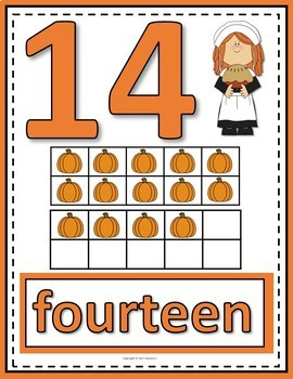Number Anchor Charts 0 to 20 with Ten Frames - Thanksgiving