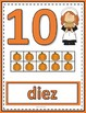 Number Anchor Charts 0 to 20 with Ten Frames - Thanksgiving Spanish-Los Números