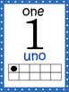 Number Posters 0 to 20 with tens frame in English and Spanish