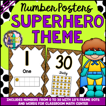 Number Posters (0 to 30) Superhero Classroom Theme BACK TO SCHOOL