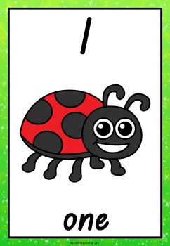 Number Posters 1-10 Insect Theme QLD Beginners Font