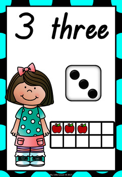 Number Posters 1-10 Kids Theme QLD Beginners Font
