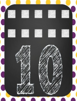 Number Posters 1-10 LSU/Tiger Purple and Gold Theme