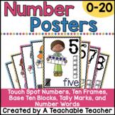 Number Posters 0-20 - Number Word, Ten Frame, Tally Marks, Base Ten Blocks