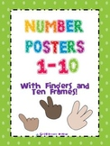 Number Posters 1-10 With Fingers and Ten Frames!