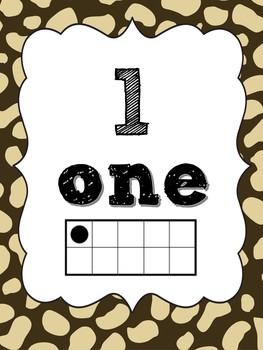 Number Posters 1-10 animal print!