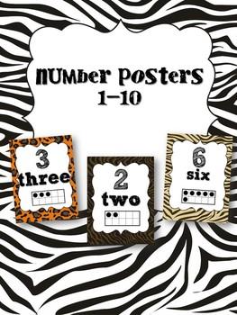 Number Posters 1-10 animal print!