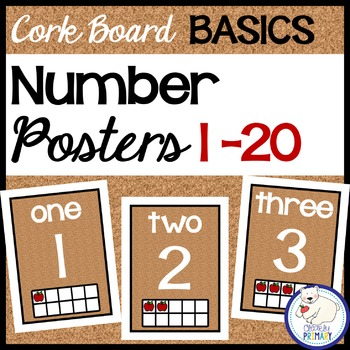 Number Posters 1-20 - Cork Board Basics
