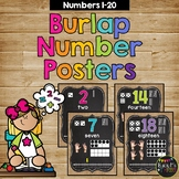 Number Posters 1-20 BURLAP AND CHALKBOARD Farmhouse with Numberline
