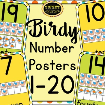 Number Posters 1-20 (Bird theme)