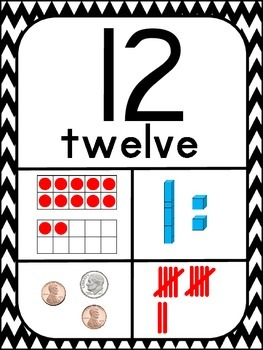 Number Posters 1-20 ~ Black and White Chevron Print
