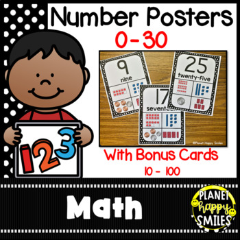 Number Posters 1-20 ~ Black and White Polka Dot
