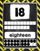 Number Posters 1-20 Bright Chalkboard Chevron