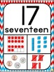 Number Posters 1-20 ~ Red, White & Blue Chevron