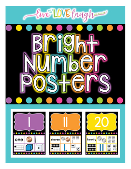 Number Posters 1-20 {Bright and Black Series}