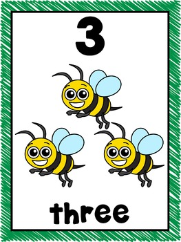 Number Posters 1-20 Bug Theme