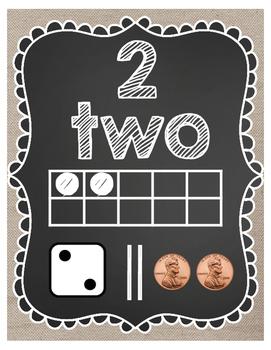 Number Posters 1-20 (Burlap)