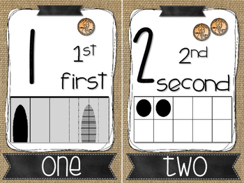 Number Posters 1-20 Burlap and Wood