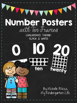 Number Posters 1-20: Chalkboard