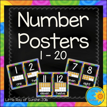 Number Posters 1-20 Chalkboard