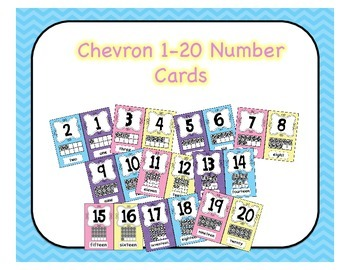 Ten Frame Number Wall Posters 1-20 Pastel Chevron