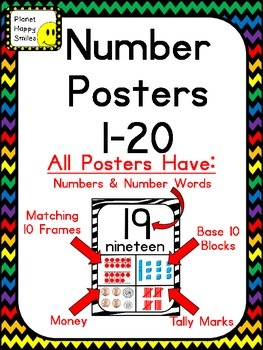 Number Posters 1-20 ~ Chevron Rainbow Print with black background